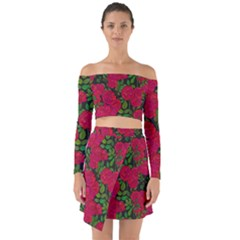 Seamless Pattern With Colorful Bush Roses Off Shoulder Top With Skirt Set