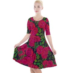 Seamless Pattern With Colorful Bush Roses Quarter Sleeve A-line Dress