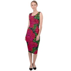 Seamless Pattern With Colorful Bush Roses Sleeveless Pencil Dress