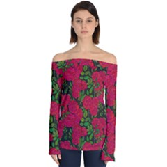 Seamless Pattern With Colorful Bush Roses Off Shoulder Long Sleeve Top