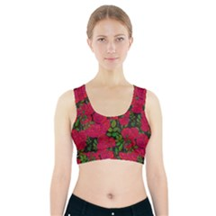 Seamless Pattern With Colorful Bush Roses Sports Bra With Pocket