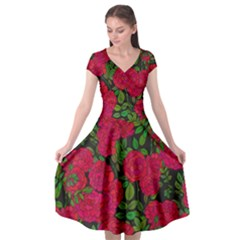 Seamless Pattern With Colorful Bush Roses Cap Sleeve Wrap Front Dress