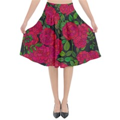 Seamless Pattern With Colorful Bush Roses Flared Midi Skirt