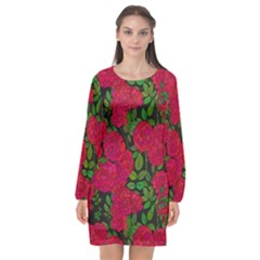 Seamless Pattern With Colorful Bush Roses Long Sleeve Chiffon Shift Dress