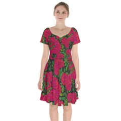 Seamless Pattern With Colorful Bush Roses Short Sleeve Bardot Dress