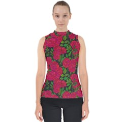 Seamless Pattern With Colorful Bush Roses Mock Neck Shell Top