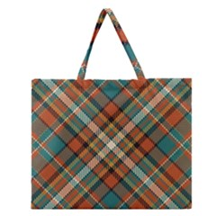Tartan Scotland Seamless Plaid Pattern Vector Retro Background Fabric Vintage Check Color Square Zipper Large Tote Bag by BangZart