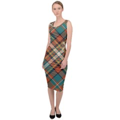 Tartan Scotland Seamless Plaid Pattern Vector Retro Background Fabric Vintage Check Color Square Sleeveless Pencil Dress