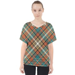 Tartan Scotland Seamless Plaid Pattern Vector Retro Background Fabric Vintage Check Color Square V-neck Dolman Drape Top