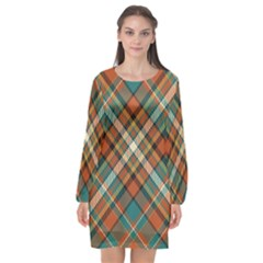 Tartan Scotland Seamless Plaid Pattern Vector Retro Background Fabric Vintage Check Color Square Long Sleeve Chiffon Shift Dress