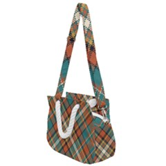 Tartan Scotland Seamless Plaid Pattern Vector Retro Background Fabric Vintage Check Color Square Rope Handles Shoulder Strap Bag