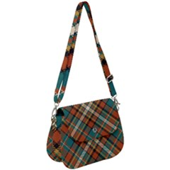 Tartan Scotland Seamless Plaid Pattern Vector Retro Background Fabric Vintage Check Color Square Saddle Handbag by BangZart