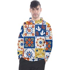 Mexican Talavera Pattern Ceramic Tiles With Flower Leaves Bird Ornaments Traditional Majolica Style Men s Pullover Hoodie