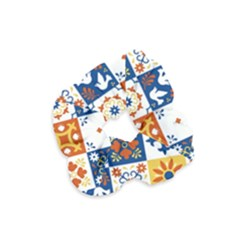 Mexican Talavera Pattern Ceramic Tiles With Flower Leaves Bird Ornaments Traditional Majolica Style Velvet Scrunchie