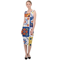 Mexican Talavera Pattern Ceramic Tiles With Flower Leaves Bird Ornaments Traditional Majolica Style Sleeveless Pencil Dress