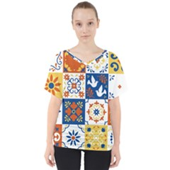 Mexican Talavera Pattern Ceramic Tiles With Flower Leaves Bird Ornaments Traditional Majolica Style V-neck Dolman Drape Top