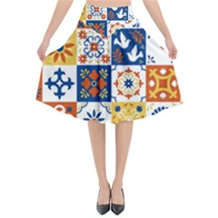 Mexican Talavera Pattern Ceramic Tiles With Flower Leaves Bird Ornaments Traditional Majolica Style Flared Midi Skirt