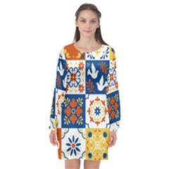 Mexican Talavera Pattern Ceramic Tiles With Flower Leaves Bird Ornaments Traditional Majolica Style Long Sleeve Chiffon Shift Dress