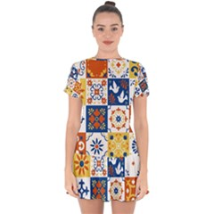 Mexican Talavera Pattern Ceramic Tiles With Flower Leaves Bird Ornaments Traditional Majolica Style Drop Hem Mini Chiffon Dress