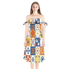 Mexican Talavera Pattern Ceramic Tiles With Flower Leaves Bird Ornaments Traditional Majolica Style Shoulder Tie Bardot Midi Dress