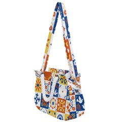 Mexican Talavera Pattern Ceramic Tiles With Flower Leaves Bird Ornaments Traditional Majolica Style Rope Handles Shoulder Strap Bag