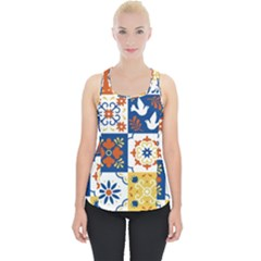 Mexican Talavera Pattern Ceramic Tiles With Flower Leaves Bird Ornaments Traditional Majolica Style Piece Up Tank Top