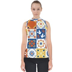 Mexican Talavera Pattern Ceramic Tiles With Flower Leaves Bird Ornaments Traditional Majolica Style Mock Neck Shell Top