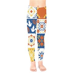Mexican Talavera Pattern Ceramic Tiles With Flower Leaves Bird Ornaments Traditional Majolica Style Kids  Leggings
