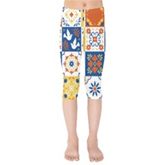 Mexican Talavera Pattern Ceramic Tiles With Flower Leaves Bird Ornaments Traditional Majolica Style Kids  Capri Leggings