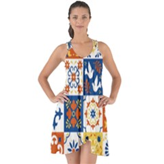 Mexican Talavera Pattern Ceramic Tiles With Flower Leaves Bird Ornaments Traditional Majolica Style Show Some Back Chiffon Dress
