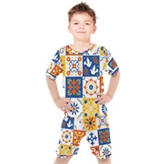Mexican Talavera Pattern Ceramic Tiles With Flower Leaves Bird Ornaments Traditional Majolica Style Kids  Tee And Shorts Set by BangZart