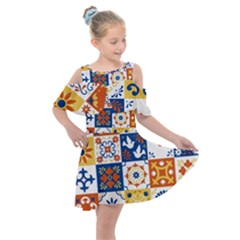 Mexican Talavera Pattern Ceramic Tiles With Flower Leaves Bird Ornaments Traditional Majolica Style Kids  Shoulder Cutout Chiffon Dress by BangZart