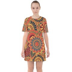 Bright Seamless Pattern With Paisley Elements Hand Drawn Wallpaper With Floral Traditional Sixties Short Sleeve Mini Dress