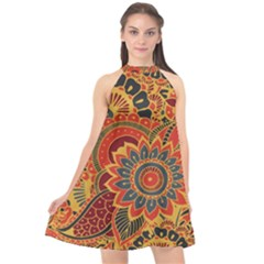Bright Seamless Pattern With Paisley Elements Hand Drawn Wallpaper With Floral Traditional Halter Neckline Chiffon Dress