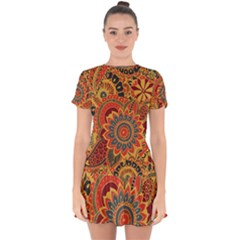 Bright Seamless Pattern With Paisley Elements Hand Drawn Wallpaper With Floral Traditional Drop Hem Mini Chiffon Dress