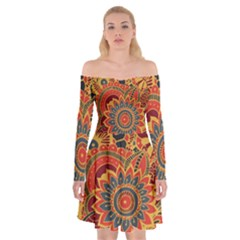 Bright Seamless Pattern With Paisley Elements Hand Drawn Wallpaper With Floral Traditional Off Shoulder Skater Dress