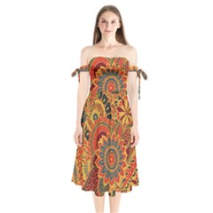 Bright Seamless Pattern With Paisley Elements Hand Drawn Wallpaper With Floral Traditional Shoulder Tie Bardot Midi Dress