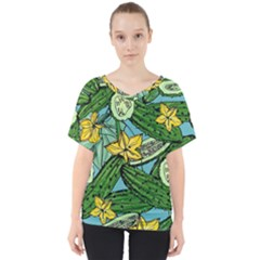Seamless Pattern With Cucumber Slice Flower Colorful Hand Drawn Background With Vegetables Wallpaper V-neck Dolman Drape Top