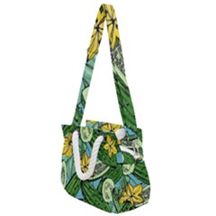 Seamless Pattern With Cucumber Slice Flower Colorful Hand Drawn Background With Vegetables Wallpaper Rope Handles Shoulder Strap Bag