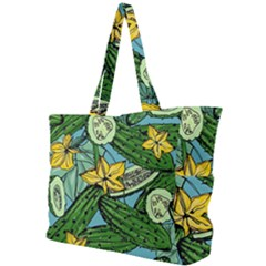 Seamless Pattern With Cucumber Slice Flower Colorful Hand Drawn Background With Vegetables Wallpaper Simple Shoulder Bag by BangZart
