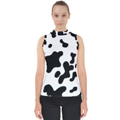 Cow Pattern Mock Neck Shell Top