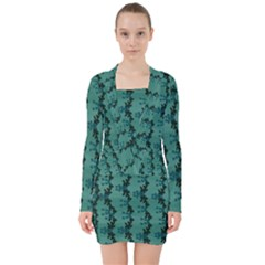Branches Of A Wonderful Flower Tree In The Light Of Life V-neck Bodycon Long Sleeve Dress by pepitasart