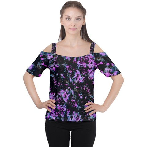 Abstract Intricate Texture Print Cutout Shoulder Tee by dflcprintsclothing