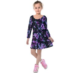 Abstract Intricate Texture Print Kids  Long Sleeve Velvet Dress by dflcprintsclothing