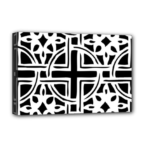 Black And White Geometric Geometry Pattern Deluxe Canvas 18  X 12  (stretched)