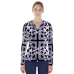 Black And White Geometric Geometry Pattern V-neck Long Sleeve Top