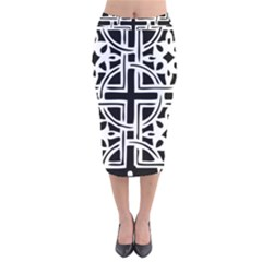 Black And White Geometric Geometry Pattern Velvet Midi Pencil Skirt