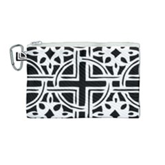 Black And White Geometric Geometry Pattern Canvas Cosmetic Bag (medium)