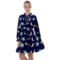 Space Pattern Colour All Frills Chiffon Dress by Bejoart