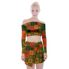 Space Pattern Multicolour Off Shoulder Top With Mini Skirt Set